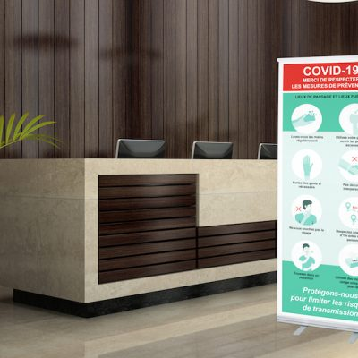 roll-up reception 3D illustration